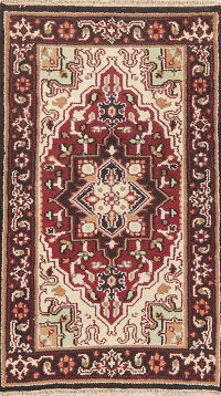 Geometric Heriz Indian Oriental Wool Rug 3x5