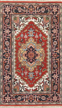 Red Geometric Heriz Indian Wool Rug 3x5