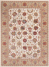 Floral Ivory Oushak Turkish Oriental Area Rug 8x11