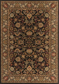 Floral Black Oushak Turkish Oriental Area Rug 8x11