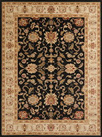 Floral Black Oushak Turkish Oriental Area Rug 8x10