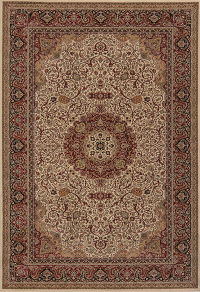 Floral Ivory Isfahan Turkish Oriental Area Rug 7x9