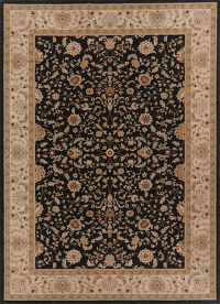 Black Floral Oushak Turkish Oriental Wool Rug 8x11