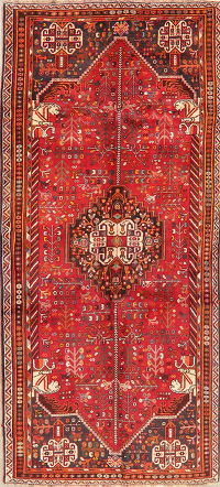 Tribal Red Abadeh Persian Wool Runner Rug 4x8