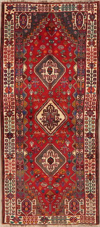 Vintage Tribal Red Abadeh Nafar Persian Wool Rug 3x6