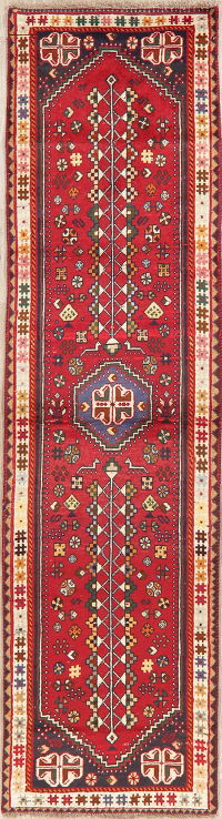 Red Tribal Geometric Shiraz Persian Runner Rug 3x10