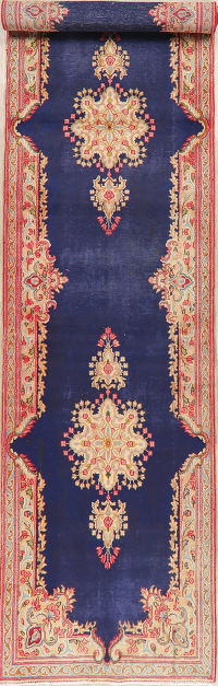 Antique Navy Blue Floral Kerman Persian Runner Rug 3x16