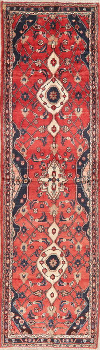 Vintage Floral Red Malayer Persian Wool Runner Rug 3x12