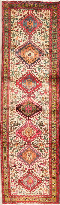Tribal Geometric Ardebil Persian Wool Runner Rug 3x10