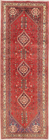Red Tribal Geometric Abadeh Persian Runner Rug 3x10