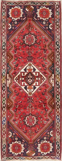 Vintage Red Tribal Shiraz Persian Wool Runner Rug 3x7