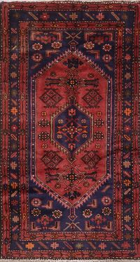 Vintage Geometric Red Hamedan Persian Wool Rug 4x6