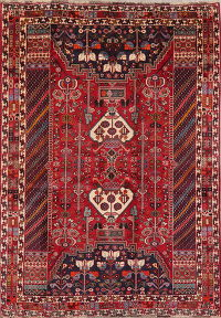 Tribal Geometric Red Kashkoli Persian Wool Rug 5x7