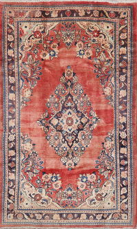 Vintage Floral Red Mahal Persian Wool Rug 5x8