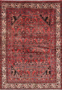 Vintage Tribal Red Hamedan Persian Wool Rug 4x6