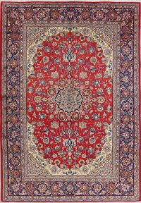 Vintage Red Floral Najafabad Persian Area Rug 9x12