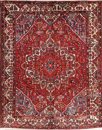 Vintage Red Geometric Bakhtiari Persian Wool Rug 10x13