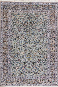Green Floral Kashan Persian Wool Area Rug 8x12