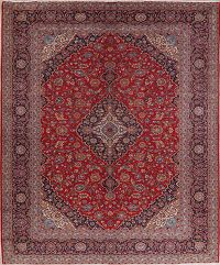 Traditional Floral Red Signed Kashan Persian Area Rug 10x14