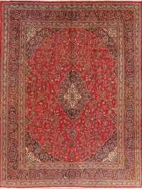 Traditional Floral Red Mashad Persian Area Rug 9x12