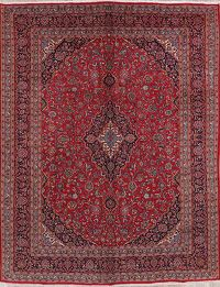 Traditional Floral Red Mashad Persian Area Rug 10x12