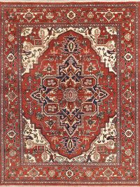 Geometric Red Heriz Indian Oriental Wool Area Rug 8x10