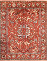 All-Over Red Heriz Indian Oriental Wool Rug 8x10