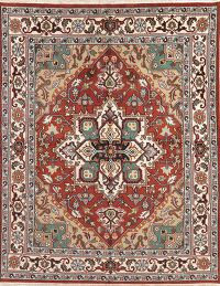 Geometric Red Heriz Indian Oriental Wool Area Rug 7x10