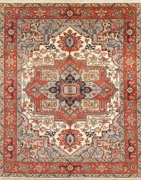 Geometric Ivory Heriz Indian Oriental Wool Rug 8x10