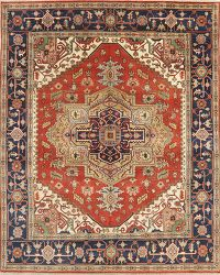 Geometric Red Heriz Indian Oriental Wool Rug 8x10