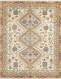 Geometric Ivory Kazak Indian Oriental Wool Rug 8x10