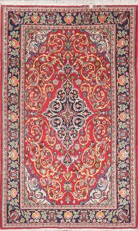 Floral Red Kashan Persian Wool Rug 4x7