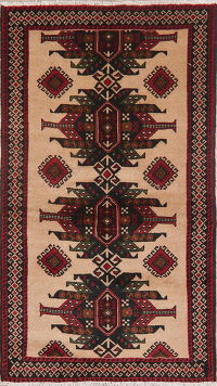 Brown Tribal Balouch Afghan Oriental Wool Rug 4x6