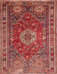 Vintage Tribal Red Kashkoli Persian Wool Rug 6x7