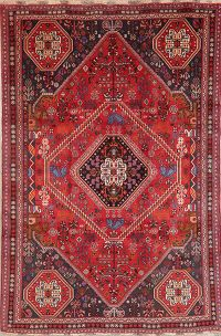 Vintage Tribal Red Abadeh Persian Wool Area Rug 6x8