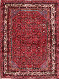 Vintage Red Geometric Hamedan Persian Wool Rug 5x6
