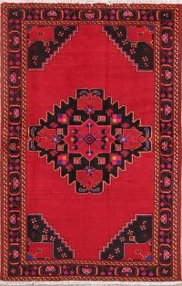 Vintage Geometric Red Zanjan Persian Wool Rug 4x6