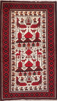 Tribal Ivory Balouch Persian Wool Rug 4x7