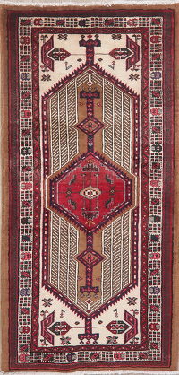 Tribal Ivory Meshkin Persian Runner Rug 3x7