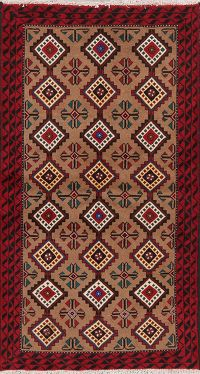 Brown Geometric Balouch Persian Wool Rug 4x6