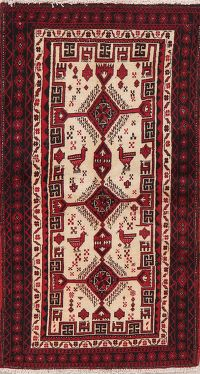 Ivory Tribal Balouch Persian Wool Rug 3x6
