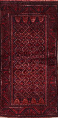 Geometric Red Balouch Persian Wool Rug 4x7