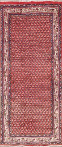 Red Botemir Persian Wool Runner Rug 3x8