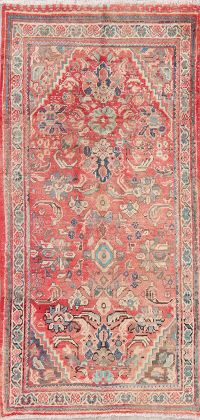 Antique Geometric Red Mahal Persian Wool Rug 4x7