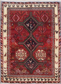 Red Tribal Geometric Zanjan Persian Wool Rug 3x4