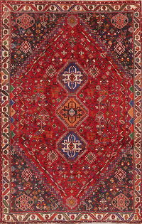 Vintage Tribal Red Abadeh Nafar Persian Wool Rug 6x9