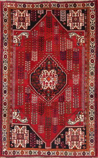 Vintage Red Tribal Shiraz Persian Wool Area Rug 5x8