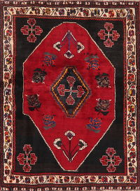 Geometric Red Shiraz Persian Wool Rug 4x6