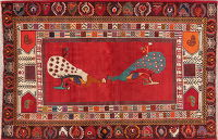 Vintage Pictorial Red Shiraz Persian Wool Rug 5x7