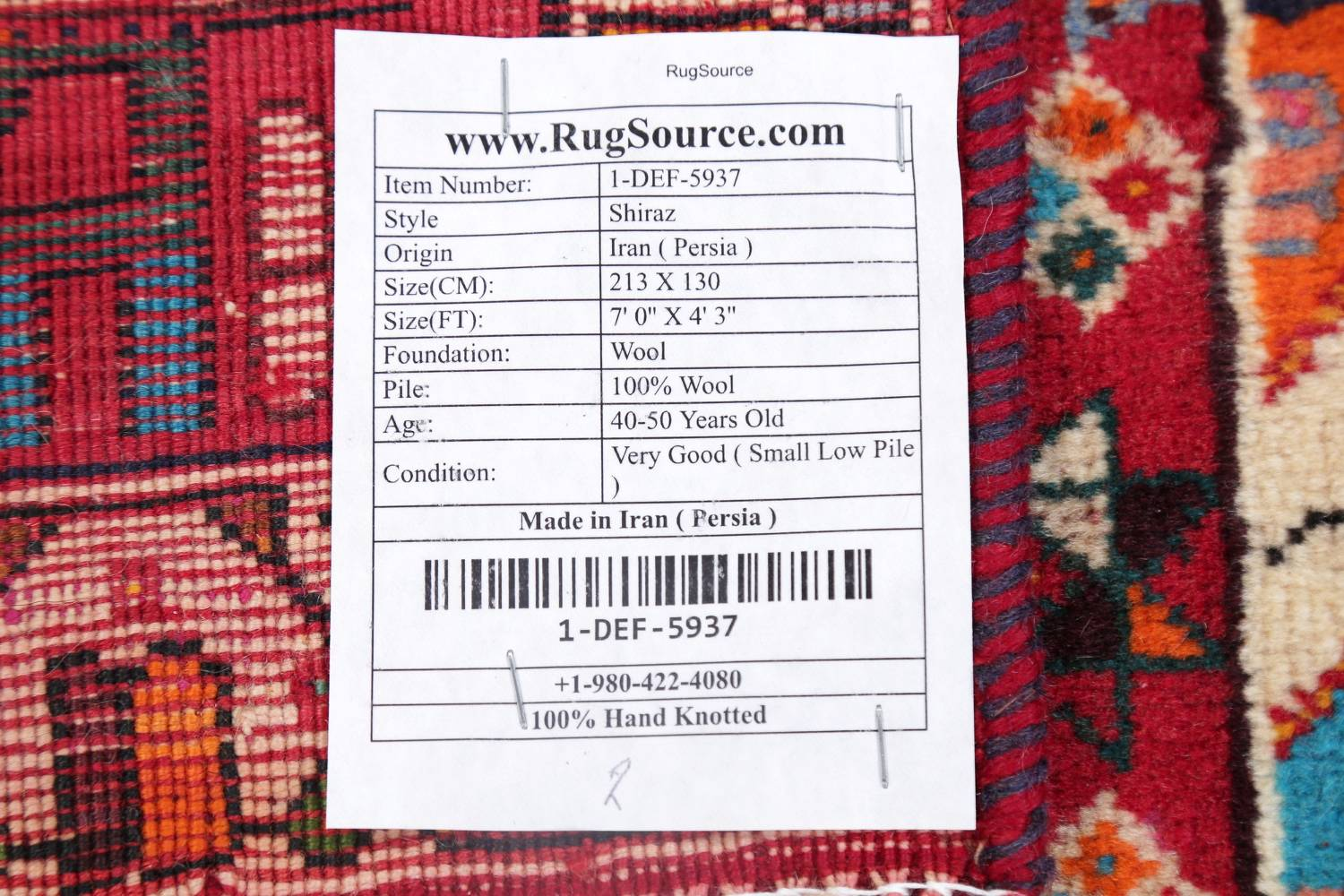 Vintage Red Pictorial Shiraz Persian Wool Rug 4x7 image 22